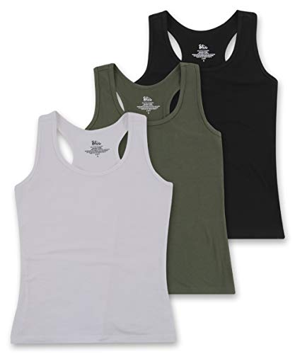 (Women's 3 Pack Cotton Stretch Casual Workout Racerback Tank Top - White, Olive, Black - Large)