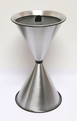 Standaschenbecher Diabola 71x40 cm, Aluminium mattiert, Marke: Szagato, Made in Germany (Kegel-Ascher, großer Standascher, Aschenbecher Sanduhr)