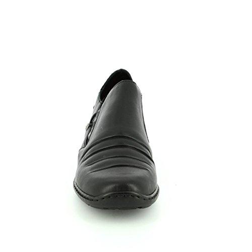 Rieker , Damen Mokassins schwarz Black/Patent Croc Black/Patent Croc