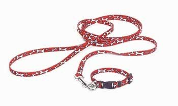 Coastal Pet Products DCP6226RWB 6-Feet Nylon Li'l Pals Printed Pattern Dog Training Leash with E-Z-Snap, Red/White Bones