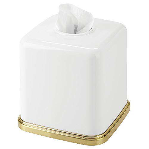 mDesign Square Plastic Disposable Facial Tissue Box Cover and Holder for Bathroom Vanity Countertops, Bedroom Dressers, Night Stands, Desks, Tables - White/Soft Brass