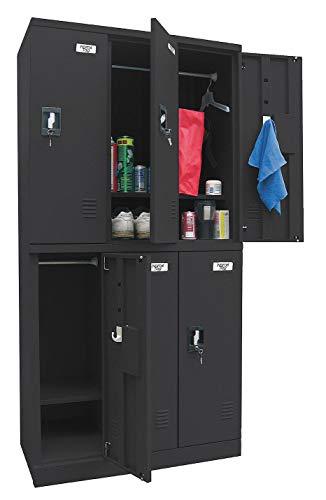 (Black Wardrobe Locker, (3) Wide, (2) Tier Openings: 6, 36
