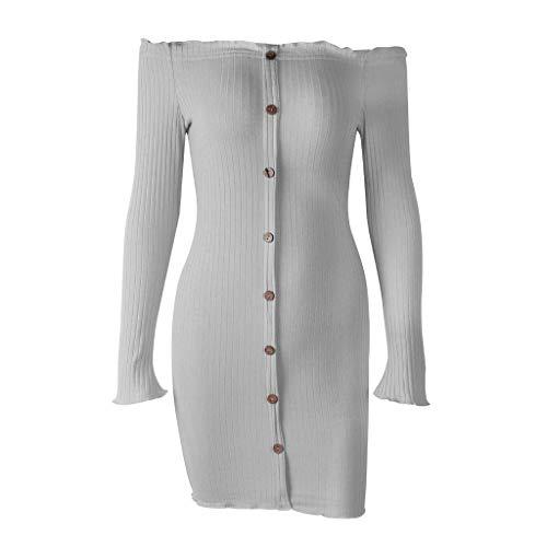 QQ1980s Women's Sexy Off Shoulder Deep Button Down Stretch Long Sleeve Ruched Bodycon Party Mini Dress Boho Sundress (Dress Brand Sun Lucky)