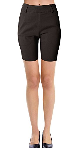 VIV Collection New Women's Straight Fit Trouser Short Pants (Large, Dark Brown)