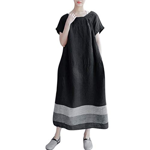 Caopixx Plus Size Dress Women's Short Sleeve Linen Loose Summer Large Size Striped Baggy Long Dress Black -