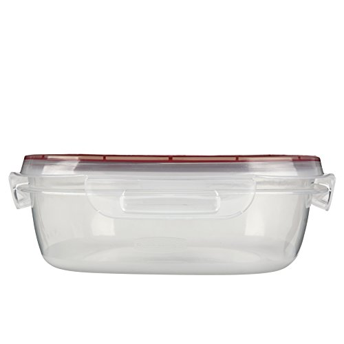(Rubbermaid Lock-Its Square Food Storage Container with Easy Find Lid, 9 Cup, Racer Red 1778070)