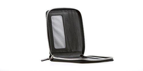 Backstein Logan Luxus Herren Schwarz Leder Zip um Brieftasche für Kreditkarten, Banknoten ID Fenster & Reißverschluss Münzen Tasche in Geschenkverpackung