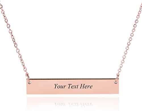 Caramel Sweet Life Personalized Stainless Steel Horizontal Bar Necklace Pendant 5 Colors with Chain
