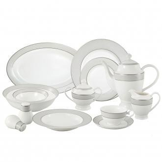 Lorren Home Trends La Luna Collection Bone China 57-Piece Silver Border and Trim Dinnerware Set, Service for 8