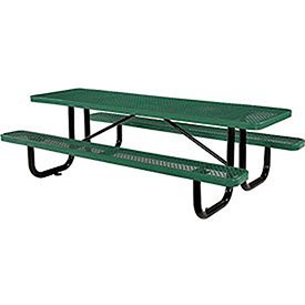 8' Rectangular Picnic Table, Expanded Metal, Green (96' Long)