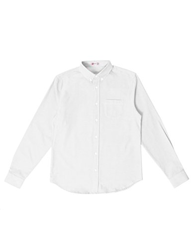 H2H Men's Solid Color 100% Cotton Oxford Long Sleeve Button Down Casual Shirt White US L/Asia XL (KMTSTL0521) by H2H (Image #4)