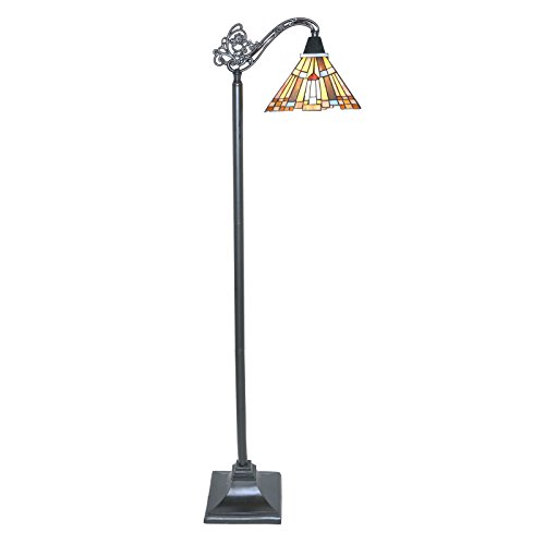 61'' H Stained Glass Mission Style Pharaoh's Jeweled Sidearm Floor Lamp by River of Goods