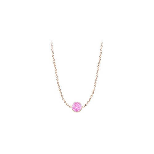 Created Pink Sapphire Necklace on 14K Rose Gold Bezel Set 1.00 ct.tw ()