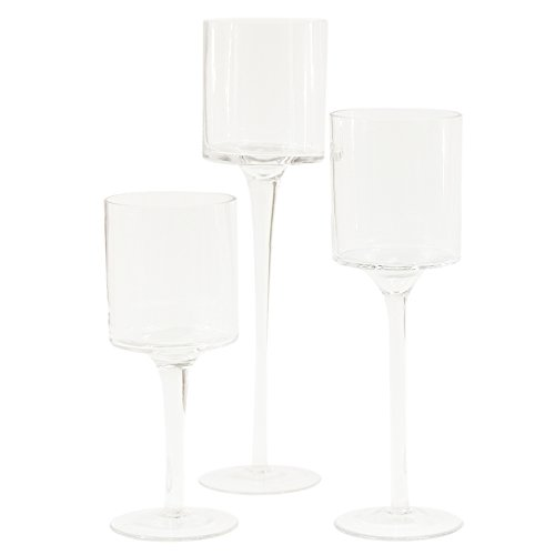 Long Stem Candy - Koyal Long Stem Glass Candle Holder, Set of 3