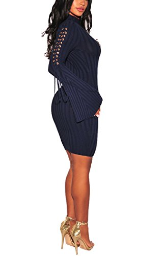 Sexycherry Womens Long Sleeve Casual Work Business Party Stretchable Elasticity Slim Fit Sweater Dress by sexycherry (Image #3)