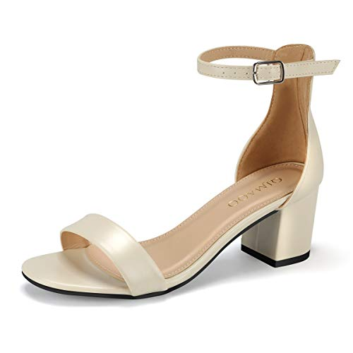 (Kivors Women's Chunky Open Toe Block Low Heeled Sandals Buckle Ankle Strap Shoes (8M, Nude))