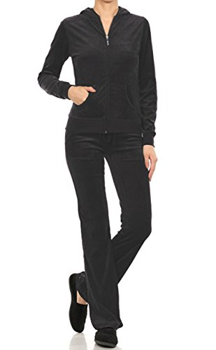 Velour Classic Hoodie Sweat Suit Jacket and Pant Set (Charcoal, 2X)