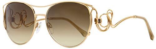(Roberto Cavalli RC1026 Carmignano Sunglasses 61 28G Shiny Rose Gold Brown Mirror)