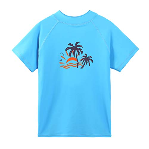 TFJH E Boys & Girls UV 50+ Swim T-Shirt Short Sleeve Rashguard Swimming Surf Top 6t 7t, Blue Short 8A
