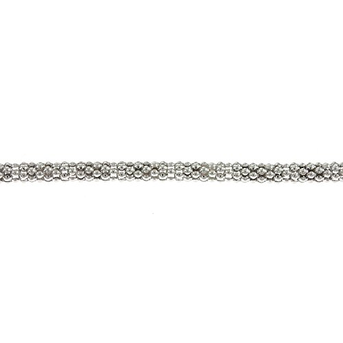 Basketweave Chain Necklace - Sterling Silver Berry Chain 4.5mm White Basket Popcorn Basket-weave Puff Link Necklace - 24 Inch
