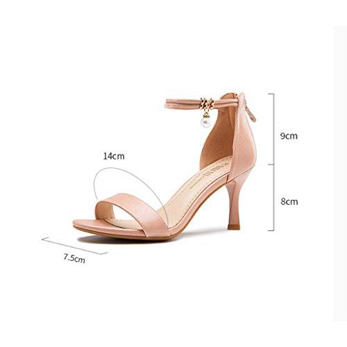 Amende Talons des Jingsen Bout Coréenne 39 avec Chaussures Mode Rose de Rose Ouvert à Perles Sandales Taille Hauts à Couleur rw7EInE1