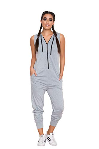 Yandy Women Active Front Zipper Hoodie Jumpsuit Side Pockets Grey Large