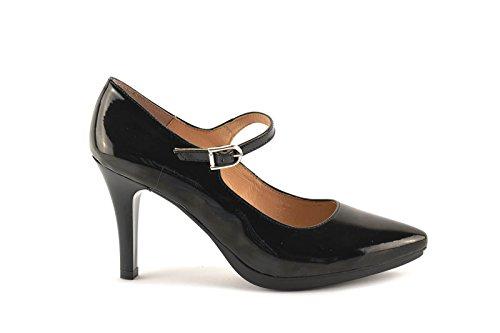 ConBuenPie by Chamby - New Collection - Zapato con tacón de piel Charol en Negro Negro