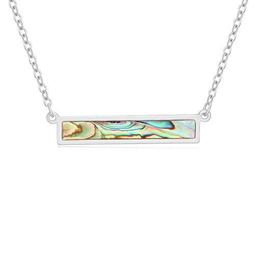 TUSHUO Abalone Shell Pendant Rectangle Crystal Choker Necklace Jewelry for Women Girls (Silver, Alloy)