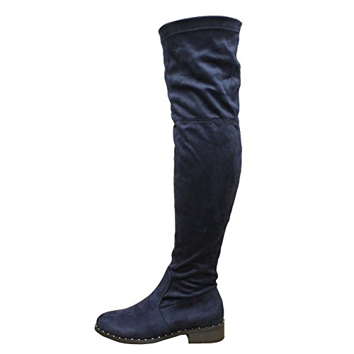 SAUTE STYLES Ladies Women Over The Knee Thigh High Long Low Mid Block Heel Stretch Boots Size 3-8 Navy Studded Platform