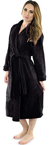 NY Threads Women's Fleece Bathrobe - Shawl Collar Ultra Soft Plush Spa Robe (Large, Black)