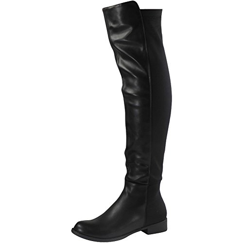 Womens Ladies Suede Lycra Mid Calf Flat Knee High Boots Long Low Heel Shoes Size 3-8 Black Pu eoJBvjlX7g