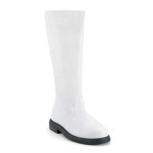 Funtasma Men's Captain-100/W/PU Knee-High Boot,White Polyurethane,9 M US
