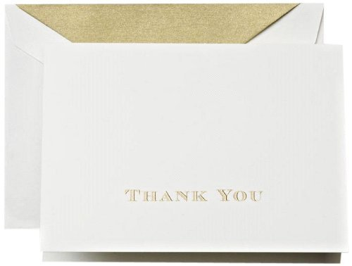 Crane & Co. Gold Hand Engraved Thank You Notes with Gold Lined Envelopes- Pack of 20 Cards by Crane & Co.
