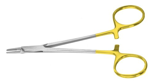 Miltex PM-3710 Padgett Ryder Needle Holder, Tungsten Carbide Neurosurgical Smooth Jaws, 127 mm Length