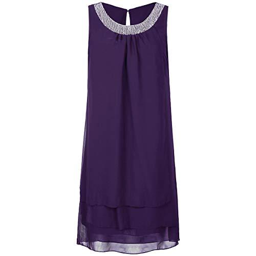 Kulywon Women Chiffon Summer Plus Size Sequin O-Neck Sleeveless Casual Swing Party Dress Purple