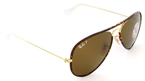 Ray Ban RB3025JM 001/57 58 Arista/Brown Polarized Sunglasses Bundle-2 - Color Full Aviator Brown Ban Ray