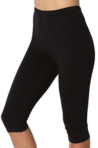 - TheMogan Women's Basic Cotton Spandex Below Knee Length Leggings Black 1XL