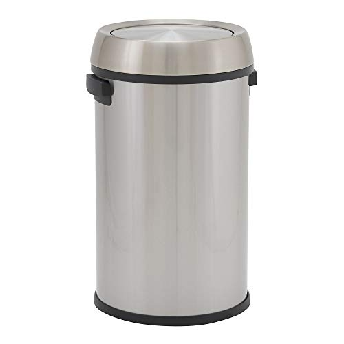 Design Trend Round Stainless Steel Commercial Trash Can with Swing Lid | 65 Liter / 17 Gallon, Silver