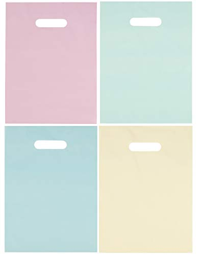 (Plastic Goodie Bags - 100-Pack Loot Bags with Die-Cut Handles, 4 Assorted Pastel Colors Goody Gift Bags, 9 x 12 Inches, Birthday, Easter Hunt Party Supplies, Light Pink, Yellow, Blue, Mint Green)