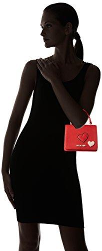 Love Moschino Borsa Calf Pu Rosso - Borse Baguette Donna, Rot (Red), 13x18x10 cm (L x H D)