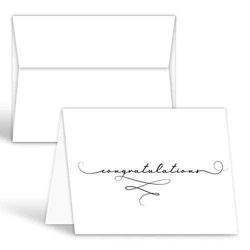 Congratulations Cards With Envelopes - White Blank Interior - Card Size: 4.25
