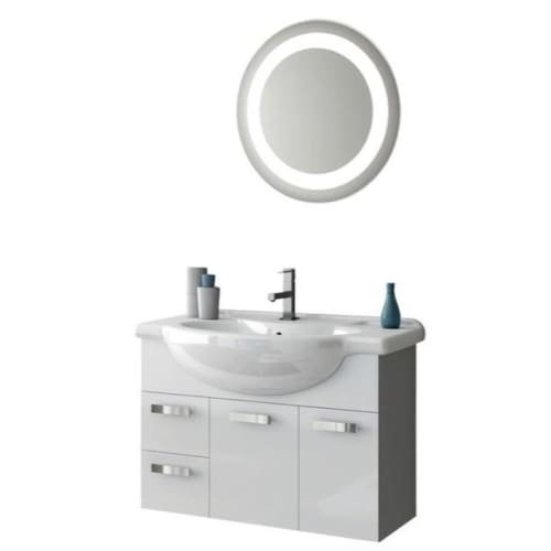 Nameeks PH28 ACF 31-1/2″ Wall Mounted Vanity Set with Wood Cabinet, Ceramic Top, Glossy White