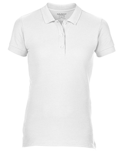 Gildan 85800l Damen Short Sleeve Damen Premium Baumwolle Sport Polo Shirt–Weiß–Small