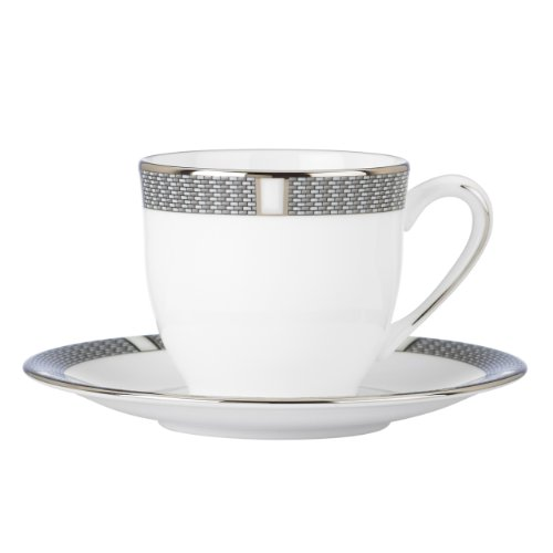 Lenox Espresso Cup and Saucer, Sophisticate, Silver