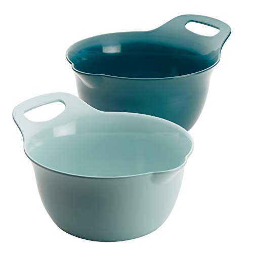 (Rachael Ray 47646 2-Piece Melamine Mixing Bowl Set 4 & 5 Quart Light Blue & Teal)