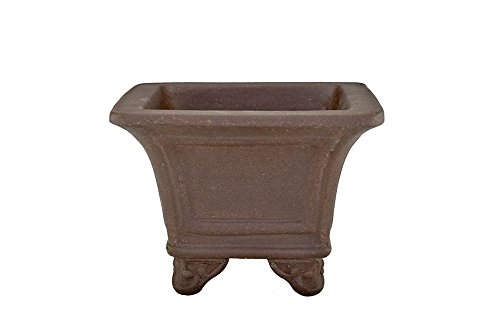 "Medium 6.5"" Unglazed Square Cauldron Tall and Deep Yixing Zisha Bonsai Pot (PE77)"