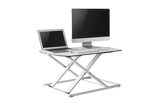 Best Adjustable Standing Desk Riser - Gas Spring Converter to Stand Up or Sit Down, 32'' White Ultra Slim, Unlimited Ergonomic Height Positions(White, 32'' Slim) by Casiii