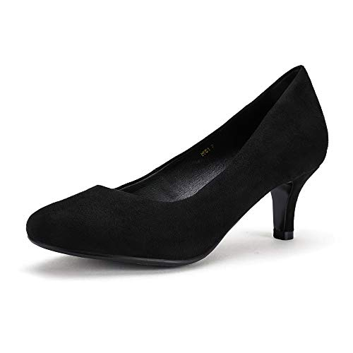 IDIFU Women's RO2 Basic Round Toe Mid Heel Pump Shoes (Black Suede, 6 B(M) US) ()