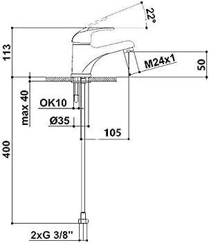 Einhebelmischer mit Zugstangen-Ablaufgarnitur RAF Mischbatterie f/ür Waschbecken Chrom