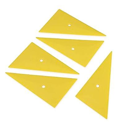 Ehdis Professional Window Tint Tool Triangle Film Scraper Car Vinyl Applicator Tools Yellow Go Corner Squeegee - 5PCS: Automotive